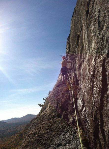 Stephen getting out on the third pitch ledge on a gorgeous autumn day.
