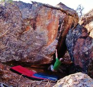 Rock Climbing Photo: Making the first move to the left hand jug on Arro...