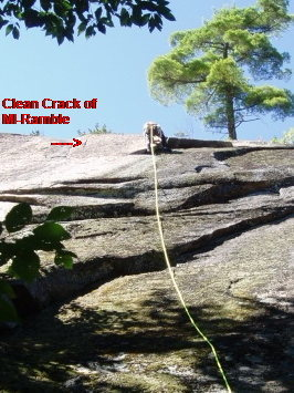 Showing the clean crack of Mississippi Ramble (climber is actually on Herm. Flake)