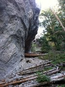 Rock Climbing Photo: Looking up at the Upper cave from near Piston Bull...