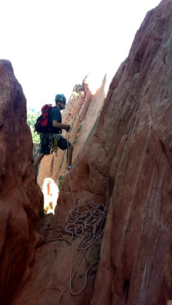 Setting up a rappel off of South Gateway.