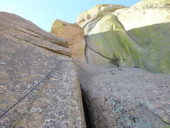 Rock Climbing Photo: Pitch 2.  Bandersnatch continues straight up on bo...
