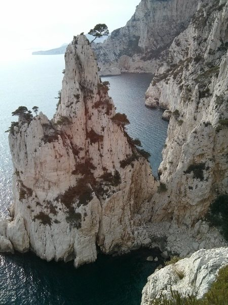 """a look out at the semi-isle from the 3rd relay of la mer bleu et profonde, there is an easy and apparently cool route on that tower that you see that is called """"sur les traces du gaston"""""""