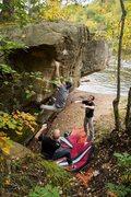 Rock Climbing Photo: Working up the arête.
