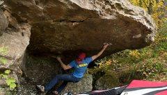 Rock Climbing Photo: Throwing down on Pocket Hercules.