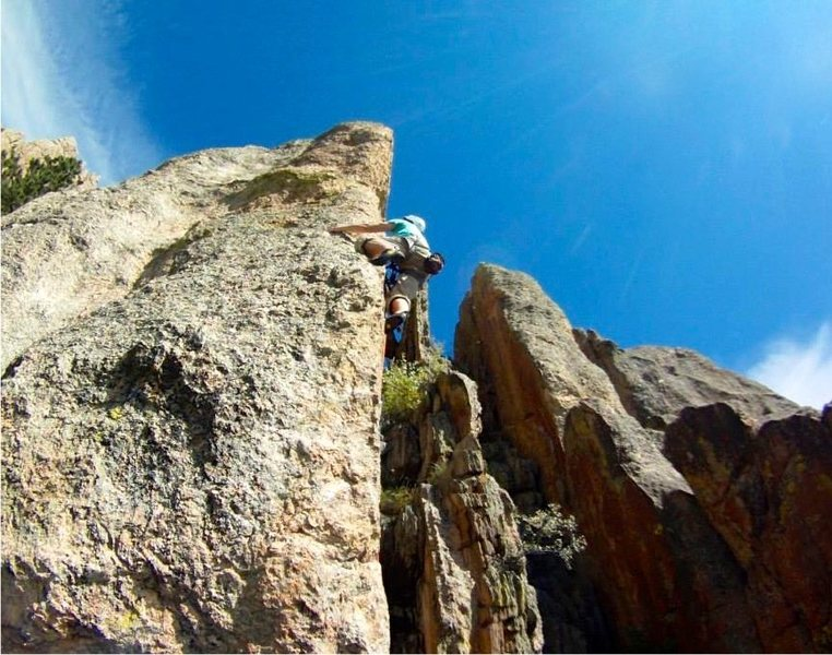Rock Climbing Photo: Mounting the arete about halfway up.