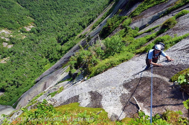 Mike Tomaselli on the final pitch of the Original Route--2014. Photo by Kevin MudRat MacKenzie.
