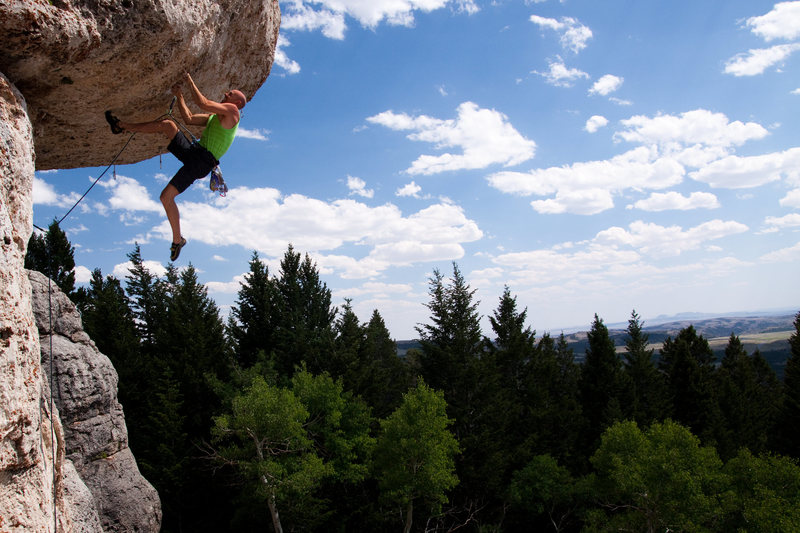 Rock Climbing Photo: Ryan replants his foot after cutting loose on Poke...