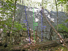 Rock Climbing Photo: Right side routes of Swamp King wall (as of 2014)