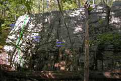 Rock Climbing Photo: White Lightning on left side Swamp King wall