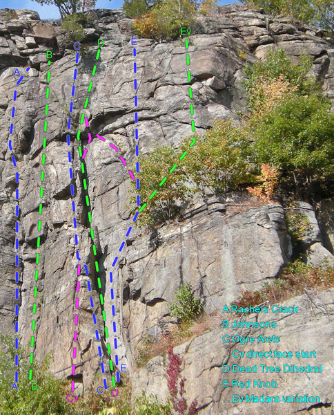 old topo Right side of Tower Wall: <br> - missing a route or two.<br> A Rachels Crack<br> B Johnsons<br> C Ogre Arete<br> . Cv direct face start<br> D Dead Tree Dihedral<br> E Red Knob<br> . Ev Madara variation