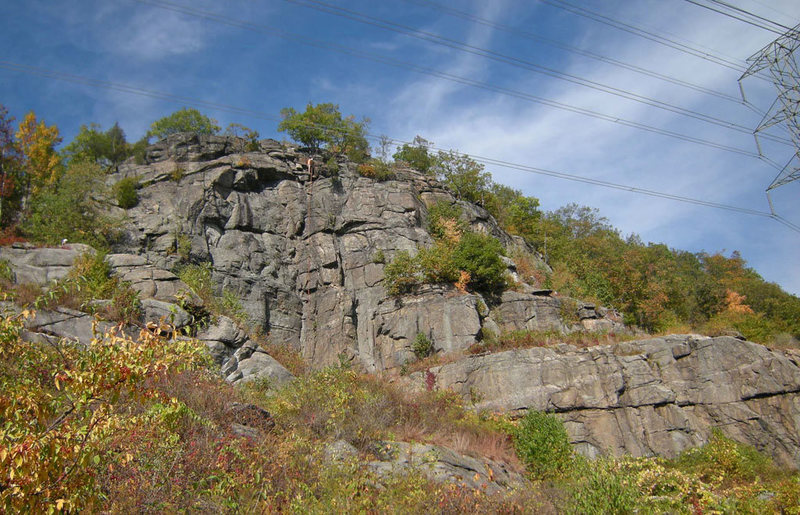 Tower Wall with person on rappel<br> - (Stockade Wall lower right)