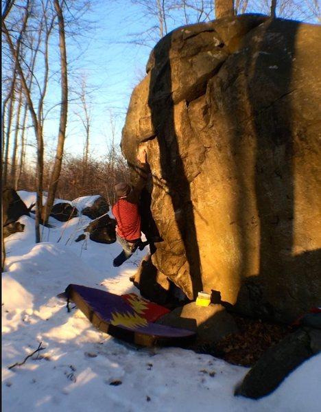 Rock Climbing Photo: Hitting the top crimp on Bokow!