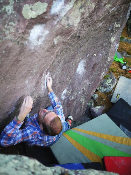 Hard, but I agree with Remo: best line on the boulder.  Photo Satermo, me sending