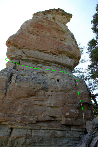 Beginning portion of the original Corkscrew route shown in green on the east face.