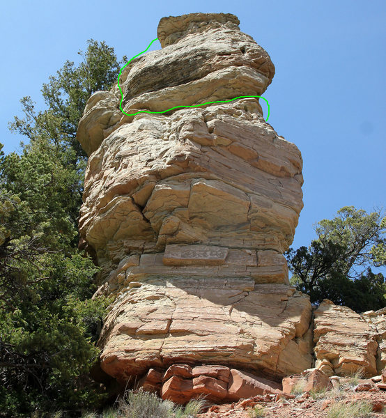 Final portion of the Corkscrew route shown in green on the southwest face.