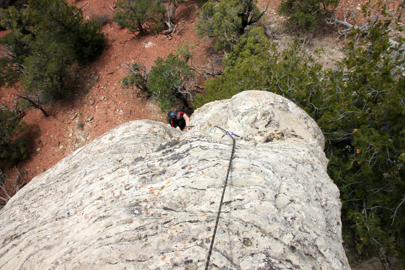 Mikey finishing up the original Corkscrew route (5.7) pioneered by J & Jesse.