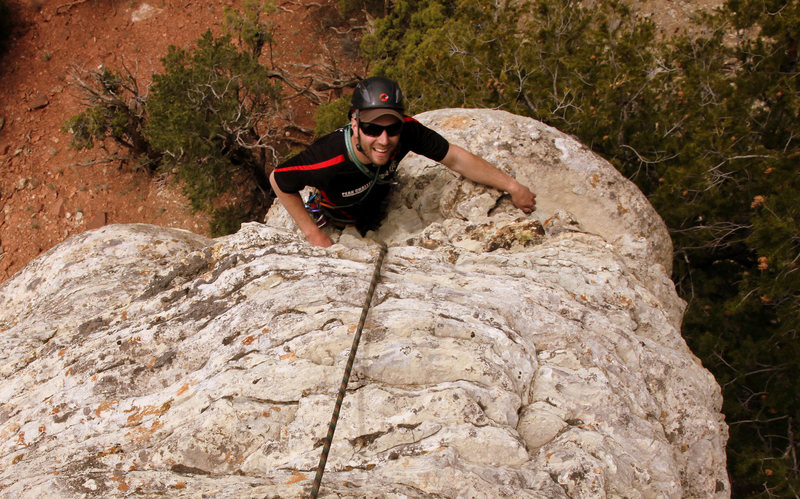 Mikey topping out on the original Corkscrew route.