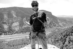 Rock Climbing Photo: Mike Santoro on the summit of the Wolcott Spire (M...