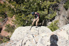 Rock Climbing Photo: Mike Santoro rappeling off the north face using th...