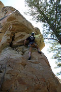 Rock Climbing Photo: Mike Santoro traversing right at the roof/undercli...