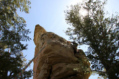 Rock Climbing Photo: Mike Santoro on easier ground on the North Face ab...