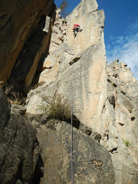 N. Bosworth on the first post-bolt ascent of Oh Baby!