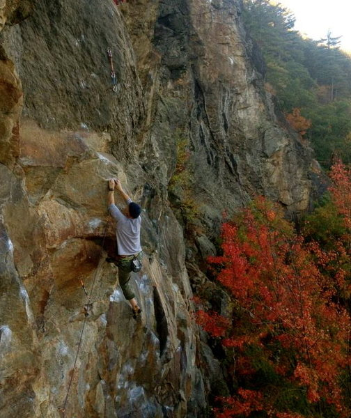 Rock Climbing Photo: About to fall again on the red point campus crux a...