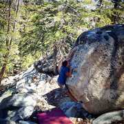 Rock Climbing Photo: Manny on the FA of Waterlou V3