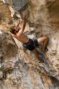 Rock Climbing Photo: Stephen gets serious and shows off the farmer's ta...