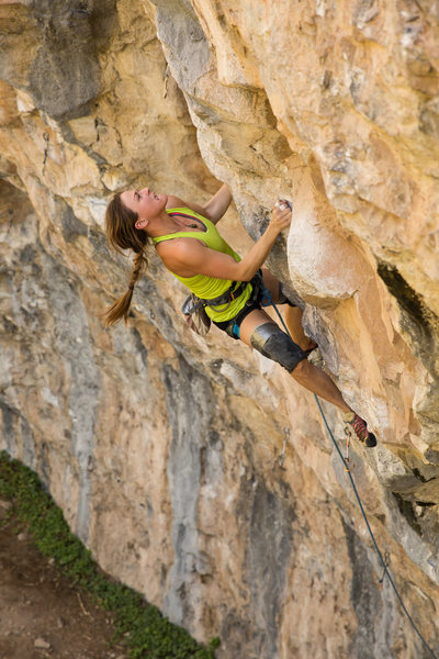Rock Climbing Photo: Sarah shows her tongue while working through the m...