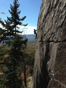 Rock Climbing Photo: Bayard onsighting on Hooter's Arete