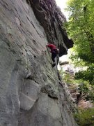 Rock Climbing Photo: Judith on Bearing Teeth (10d). The bolt line you c...