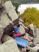 Rock Climbing Photo: Ian tossing for the lip jug on the FA
