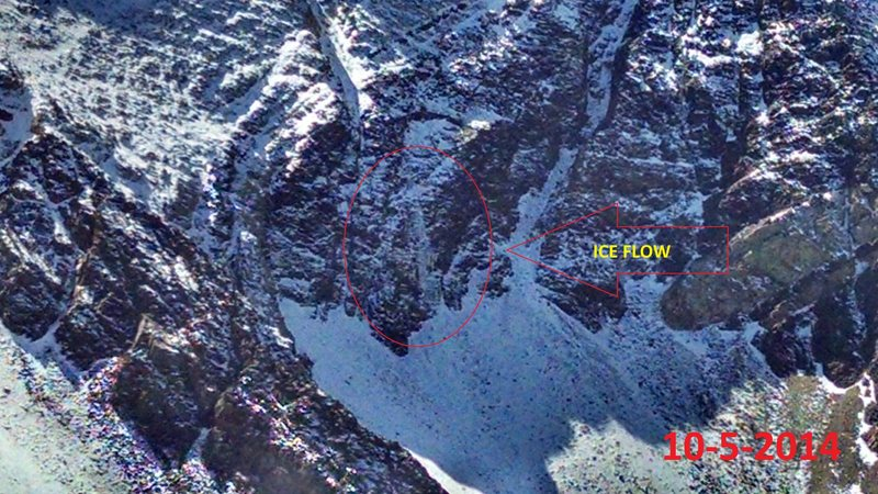 Large ice flow under Center Chute on the American Fork Twin Peaks on 10-5-2014