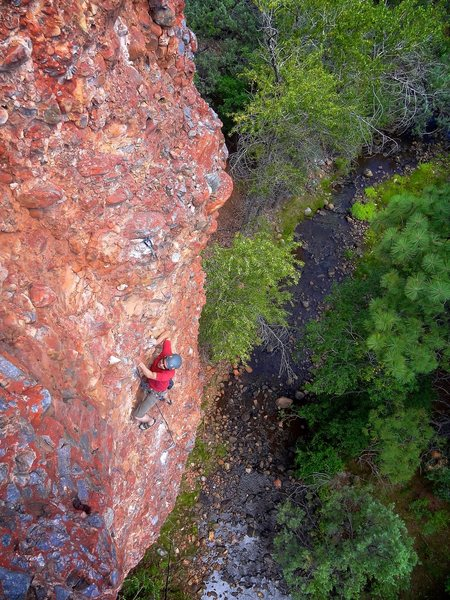 Climbing the easy middle section. August 2013.