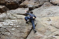 """Rock Climbing Photo: Dave just above the first bolt on """"Ohio Climb..."""