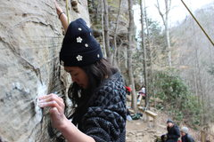 """Mal on her first ever climb, """"Stay Off the Radio, Jeff"""" 5.9"""