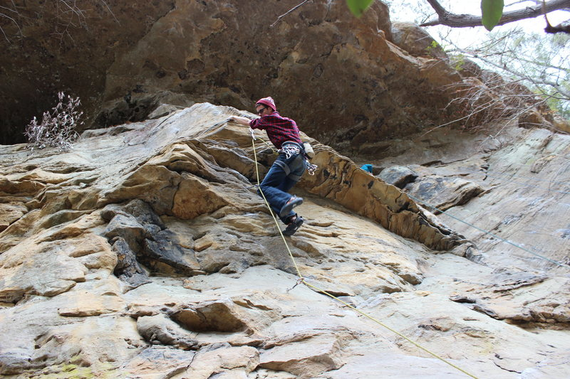 """Rock Climbing Photo: Quinn negotiating the crux of """"Stay Off the R..."""