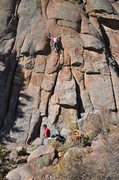 Rock Climbing Photo: Kat A. gets into the crack-switch sequence on Stra...