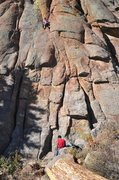 Rock Climbing Photo: Kat A. headed solidly for the P1 belay on Straw Tu...