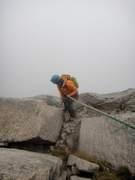 Rappelling down into the fog after an epic on Cannon.