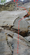 Rock Climbing Photo: Snozzberries follows the crack, then cuts right in...