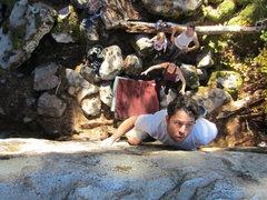 Rock Climbing Photo: Spotter is ready for a bear hug