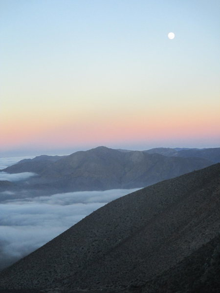 A view of dawn breaking from Arroyo Agua Grande, which separates Cerro Negro and Cerro Mamalluca
