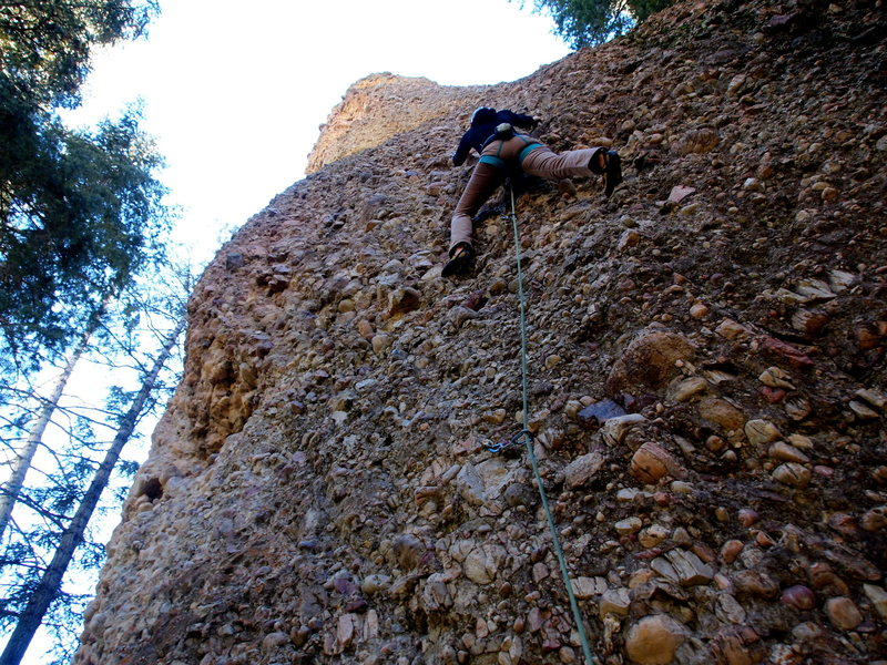 Rock Climbing Photo: View of the entire route. Hanna McKeand leading.