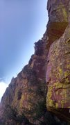 Rock Climbing Photo: Matt belaying at the top of pitch one as Carrie re...
