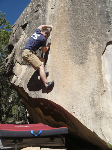 Rock Climbing Photo: DS enjoying wonderful hand jams past the crux