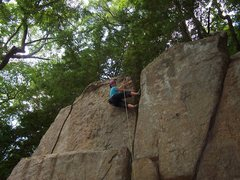 Rock Climbing Photo: Nicole laybacking the top section.
