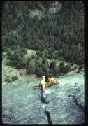 Rock Climbing Photo: Outer Space, Snow Creek Wall. 1985. Photo: Jeff Sm...